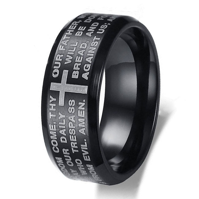 a1c13f011a New English The Lord's Prayer Vintage Ring Men Women Stainless Steel Cross  Jewelry Mens Black Jesus Titanium Steel Rings