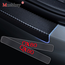 Carbon Fiber Vinyl Sticker Car Door Sills Threshold For Infiniti QX80 Entry Guard Sill Scuff Plate 4Pcs Auto Part