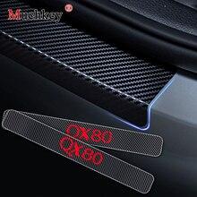 Karbon Fiber vinil yapışkan Araba Kapı Eşikleri Kapı Eşiği Infiniti QX80 Kapı Giriş Bekçisi kapı eşiği tıkama plakası 4 Adet Oto Parçası