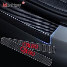 คาร์บอนไฟเบอร์ไวนิลสติกเกอร์รถประตู Sills ประตูเกณฑ์สำหรับ Infiniti QX80 ประตูยามประตู Sill Scuff แผ่น 4 pcs Auto Part