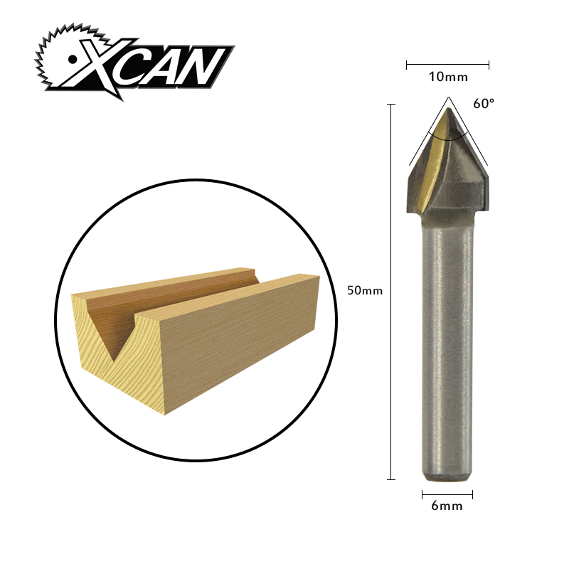 XCAN! 1pc 60 Degree V Shape Chamfer End Mills Router Bit For Woodworking 3D Milling Cutter