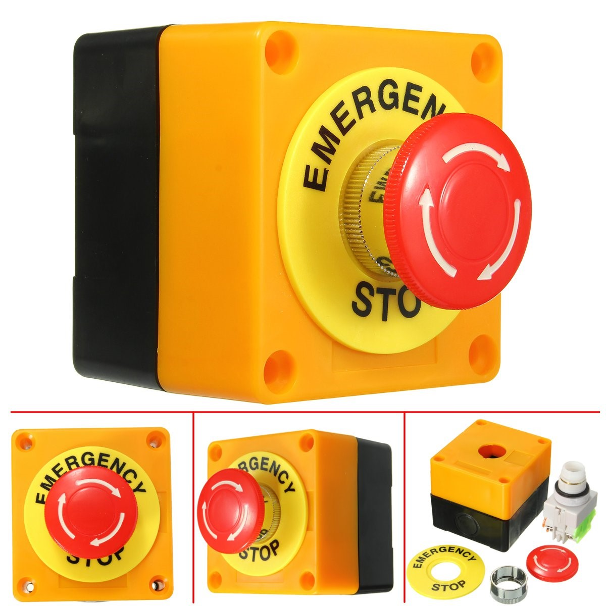 Best Price1 NO 1 NC 10A 660V Emergency Stop Push Button Switch Waterproof Self Locking Explosion-proof anti-corrosion waterproof 10a 250v 380v on off waterproof push button switch for cutting machine drill switch plastic motor best price