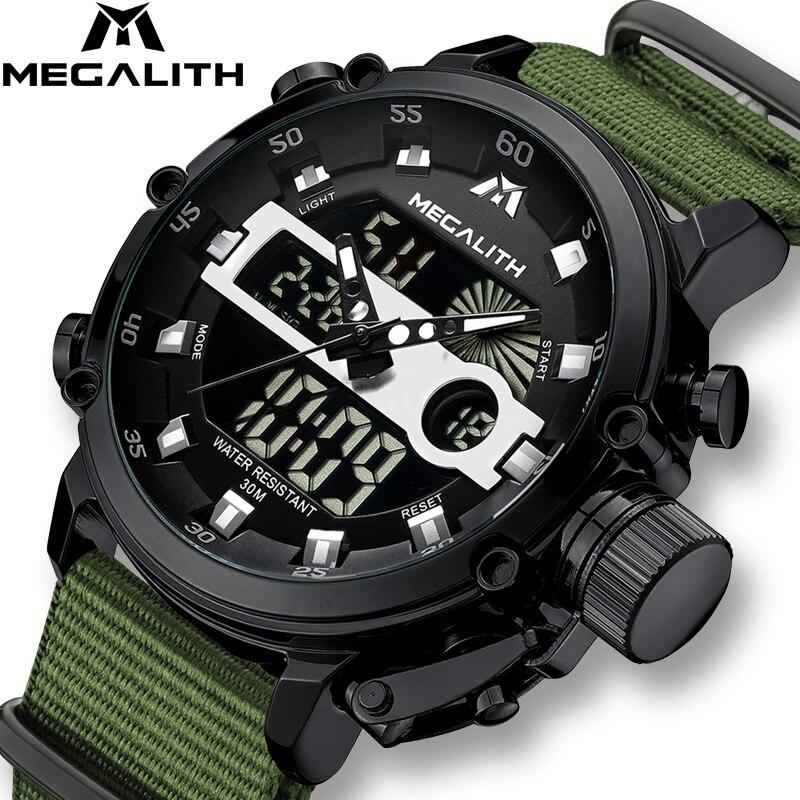 MEGALITH Homens Da Forma do Relógio Masculino Luminosa À Prova D' Água Relógio De Quartzo Homens Top Marca de Luxo Esporte LED Relógio Digital Relogio masculino