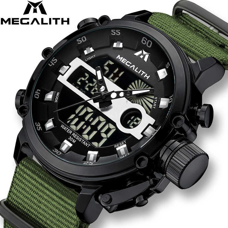 MEGALITH mode hommes montre mâle lumineux étanche montre à Quartz hommes Top marque de luxe Sport LED horloge numérique Relogio Masculino
