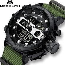 MEGALITH موضة الرجال ساعة الذكور مضيئة مقاوم للماء ساعة كوارتز الرجال العلامة التجارية الفاخرة الرياضة LED ساعة رقمية Relogio Masculino
