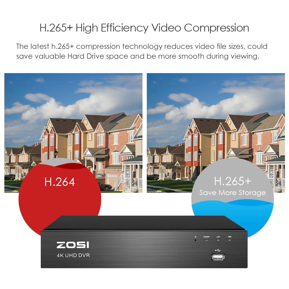 Image 5 - ZOSI 4K Super HD Video Surveillance System 8 Channel H.265+ DVR with 2TB HDD and 4 x 4K(8MP) Ip67 Bullet Weatherproof Cameras-in Surveillance System from Security & Protection