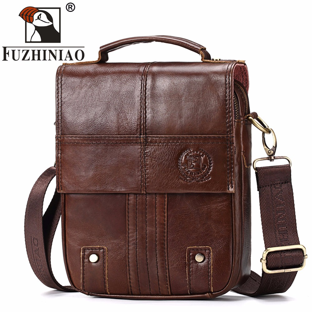 FUZHINIAO Genuine Cow Leather Men Messenger Bag Fashion Business Vintage Mens Bags High Quality Shoulder Bag Crossbody Bag ...