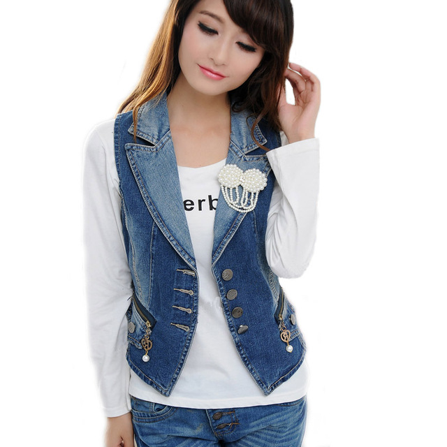 Women Denim Vest Fashion Pearl Brooch Zipper Pocket Denim Vests Female Slim Body All Match Denim Waistcoat Plus Size 3XL