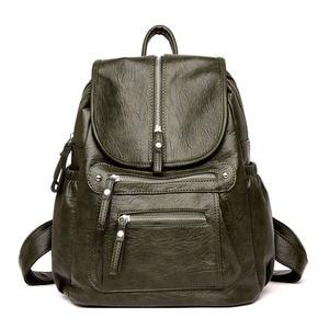 Image 5 - Women Backpack high quality Leather  Fashion school Backpacks Female Feminine Casual Large Capacity Vintage Shoulder Bags