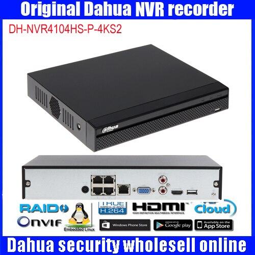 Dahua original DH-NVR4104HS-P-4KS2 ip réseau enregistreur vidéo HD H.265 4ch connecté NVR enregistreur vidéo NVR4104HS-P-4KS2