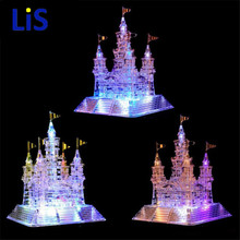 France font b Construction b font Eiffel Tower 3D Crystal Puzzle Model With Music Light DIY