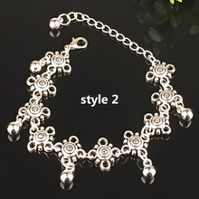 2016 Fashion Charm Anklets 2styles Vintage Foot Jewelry Ancient Silver Plated coin Ankle Chain Bracelet for sexy beach women