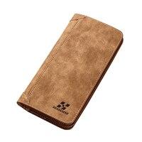 Original Famous Brand Men Wallets Long Designer Scrub Leather Bifold Vintage Male Purse Wallet Card Holder
