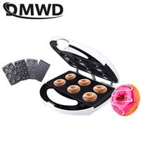 DMWD Multifunction Electric Waffle Maker Muffin Pancake Donut Walnut Cake Machine baking breakfast pan 4 Changeable Plates EU US