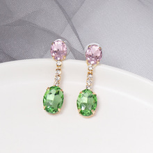 Personality geometric earrings European and American fashion square accessories high-grade glass ear jewelry