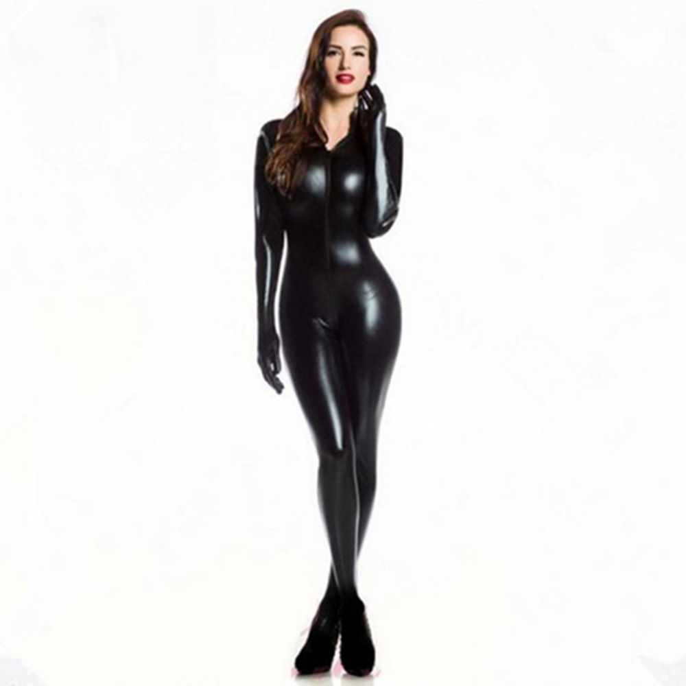 Plus XXL Size Wome s 2way zipper Faux Leather Catsuit Clubwear DS Latex Cat Women With
