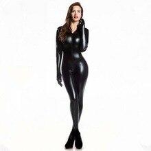 Плюс XXL Размеры Воме 2way молнии искусственной кожи комбинезон Клубная одежда DS Латекс кошка женские перчатки праздничный костюм комбинезон