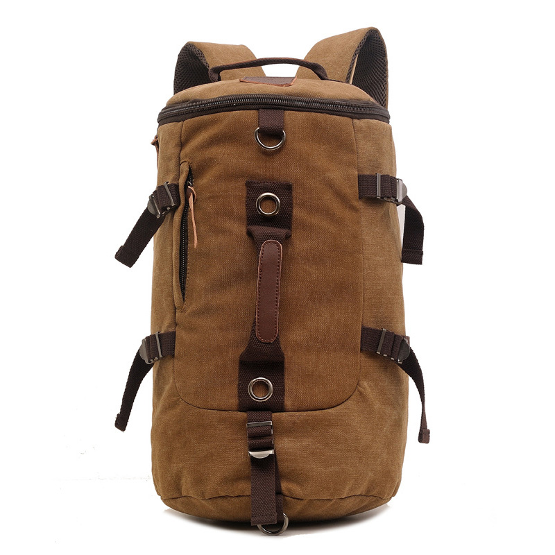 Casual Canvas Men Travel Backpack Vintage Large capacity Sport backpack Multifunction Coffee Male backpack Cylindrical Man bagCasual Canvas Men Travel Backpack Vintage Large capacity Sport backpack Multifunction Coffee Male backpack Cylindrical Man bag