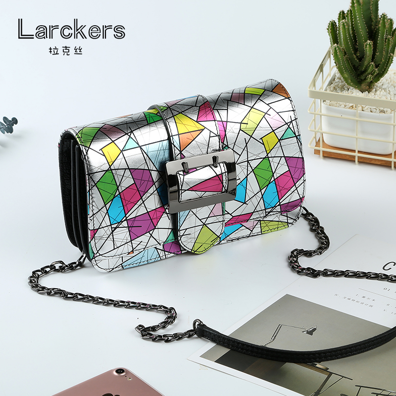 Genuine leather women shoulder bag fashion geometric colorful ladies flap delicate chain crossbody women bags multis fold clutch delicate multilayered geometric necklace for women
