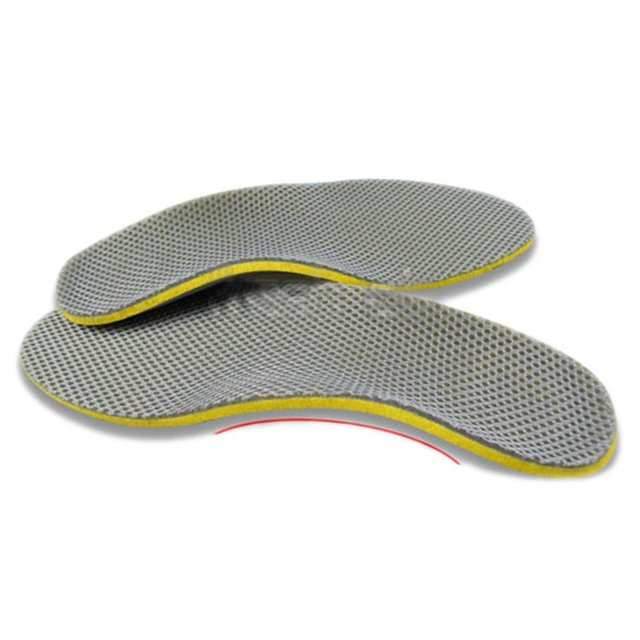 Atacado 5 * Confortável Sapatos Ortopédicos Palmilhas Inserções Alta Arch Suporte Pad (S) amarelo + Cinza