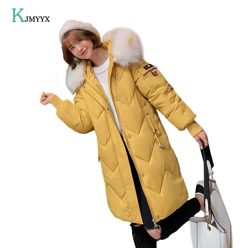 KJMYYX 2019 New Arrival Fashion Slim Women Winter Jacket Cotton Padded Warm Thicken Ladies Coat Long Coats   Parka   Womens Jackets