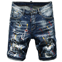 Shorts blue jeans men ripped torn pants stretch five short pants jeans printed male the Summer new fashion hip hop streetwear