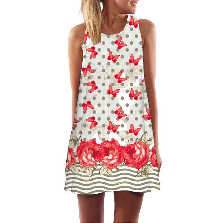 Звездная ночь короткое платье 2019 летние женские цветочные богемный пляжный сарафан без рукавов Фламинго Шифоновые Платья Vestidos De Fiesta