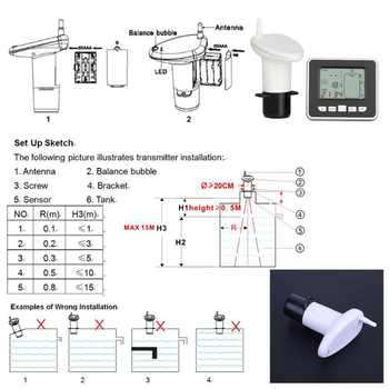 High Quality Thermometer ultrasonic level gauge water tank level gauge with indoor temperature liquid temperature display