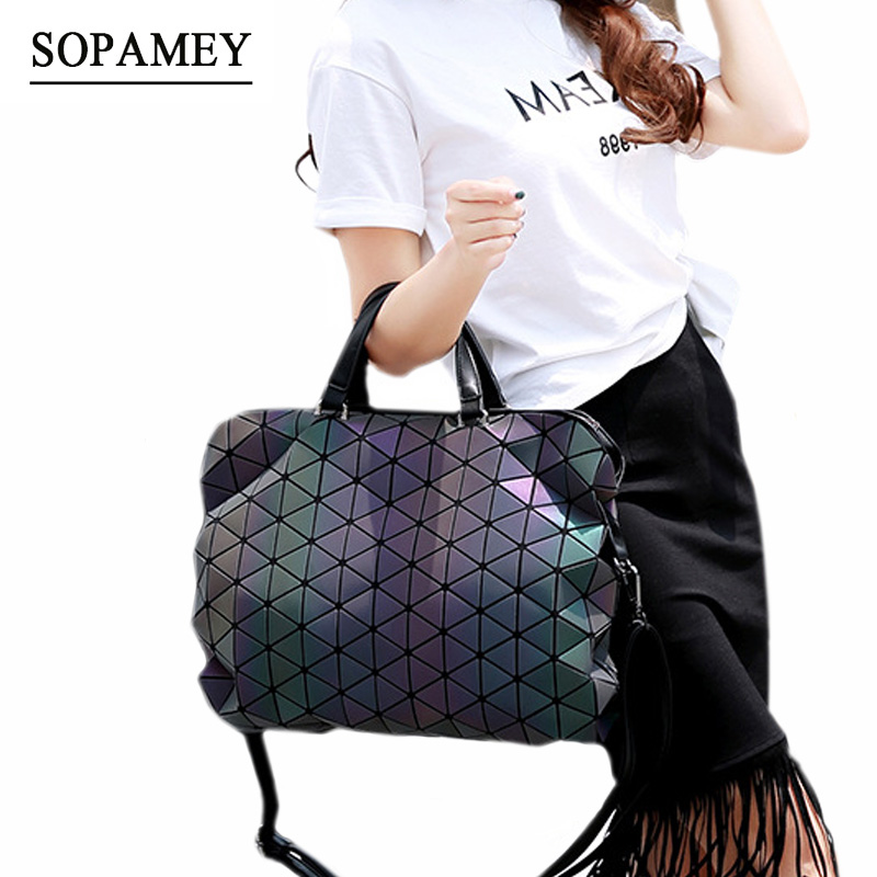Bags Handbags Women Famous Brands Luminous Geometric Plaid Messenger Bag Casual Tote Sho ...