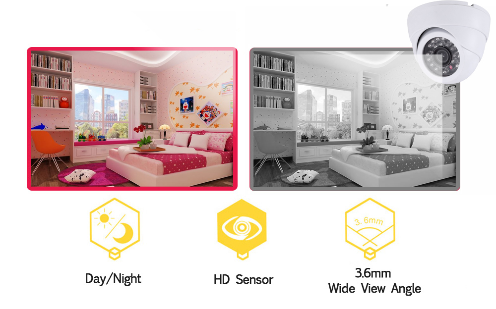 NINIVISION White Dome HD 8CH AHD DVR Kit 2.0MP Security Cameras System 8*1080P Day Night Vision CCTV Home Security Camera Kits