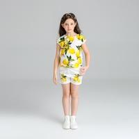2016 New Girl Summer Shorts Printing Girls Set Flower Children Clothing Set For Girls Princess Girls Clothes Set