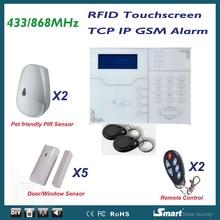 868 MHz Enfoque ST-VGT Ethernet TCP/IP GSM GPRS Sistema de Alarma con Teclado Táctil y Admite Mascotas PIR Sensor, WEB ES DECIR, Programable