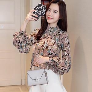 Image 4 - Moda kobieta bluzki 2020 drukuj szyfonowa bluzka koszula damskie topy i bluzki z długim rękawem koszule damskie blusas femininas 2078 50