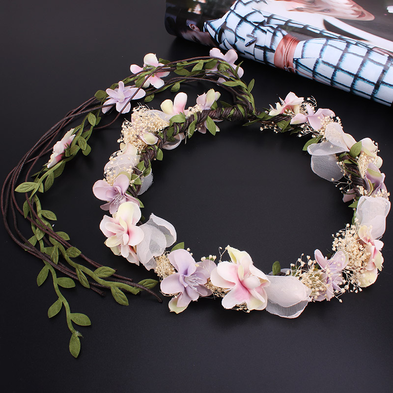 2016 NEW Fashion Bride Long Leaves Flowers Headband Wedding Party Girl Women Hair Floral wreath Hair Band Lady Hair Accessories 1pc 2016 new fashion elgant women hair band rope elastic rose flower ponytail holder scrunchie party accessories hot page 4