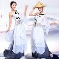 Высокое качество женщины танцуют платье сценический костюм производительность китайской традиционной косплей костюм вентилятор танец одежды 16