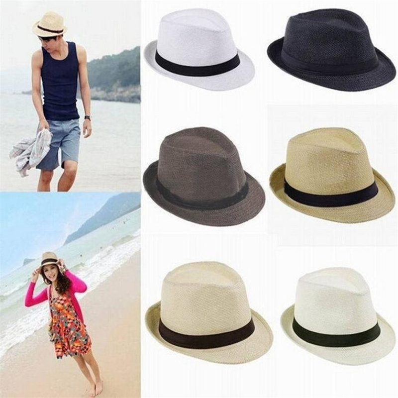 CHAMSGEND hat women's caps men Visor Beach hat Unisex Trilby Gangster Cap Beach Sun Straw Hat Band Sunhat Drop shipping A0816#30(China)