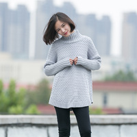Cotton Cloth Art All Match Qiu Dongkuan Color Knitting Loose Sleeve Head Thickened Turtleneck Sweater 857
