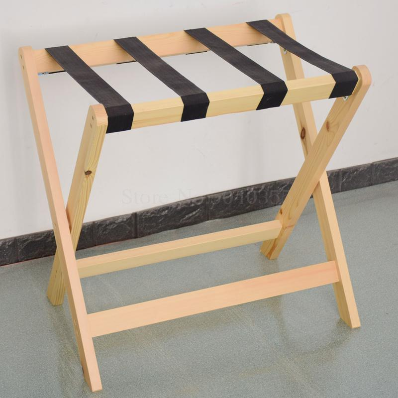 Solid wood luggage rack hotel floor folding racks home bedroom put sleep clothes simple shelves - Цвет: VIP 10