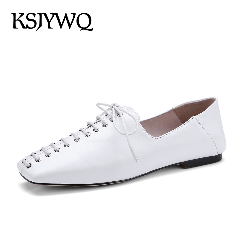 KSJYWQ 2018 Women's White Flats Genuine Leather Lace-up Casual Shoes Woman Sexy Ladies Party Loafers New Flats Box Packing 18-15 beautyfeet women shoes female genuine leather lace up casual shoes woman flats white shoes candy color breathable ladies shoes