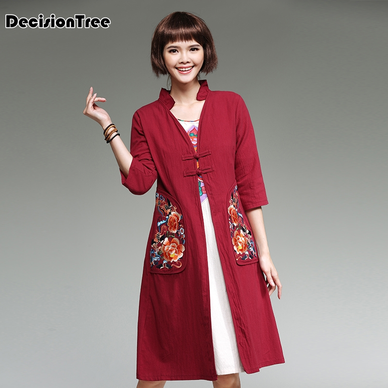 2019 new women trenchcoat traditional chinese clothing for women meditation cushion female   trench   coat for women