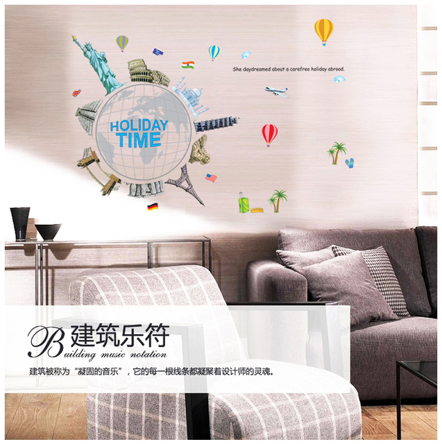 Around The World Holiday Time Global Travel Tour Earth Office Wall Sticker Wall Decal Home Decor Livingroom Bedroom Ay9187