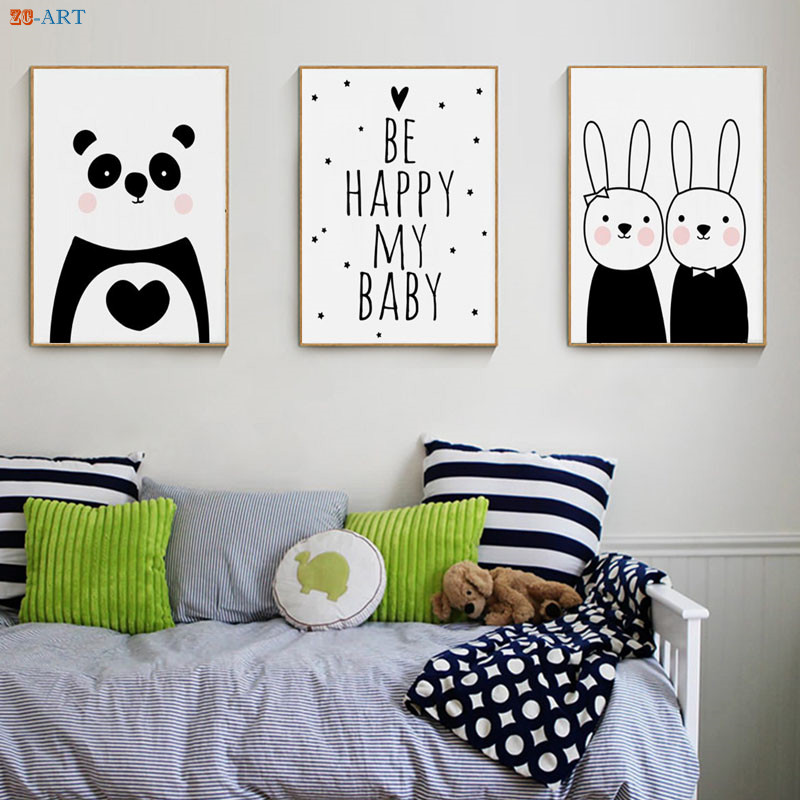 Us 4 03 16 Off Cartoon Panda Rabbit Posters And Prints Quotes Canvas Painting Simple Cute Nursery Wall Art Kids Bedroom Decorative Picture In