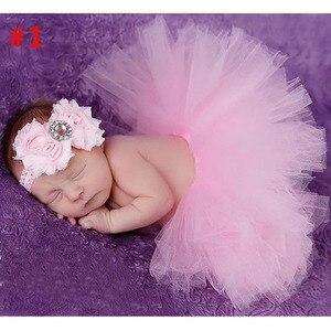 Розовая детская юбка-пачка и повязка на голову, комплект для новорожденных, платье-пачка для новорожденных, реквизит для фотографии, одежда-...
