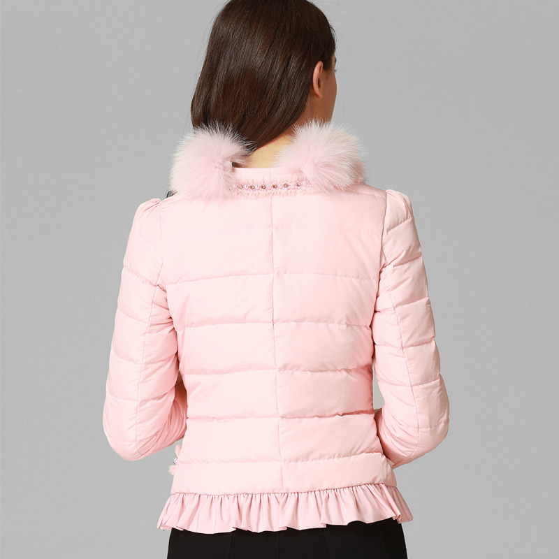 Manches Veste Survêtement Fourrure Blanc Perles Longues Top Vers Main Femmes pink Qualité Beige Rose Parka D'hiver À Bas La Marque 2018 Patchwork Faites Le De ZZtBwqf