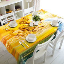 Home Textile Polyester 3d Tablecloth Yellow Chinese Dragon Pattern Washable Cotton Rectangular&Round Table cloth Decoration