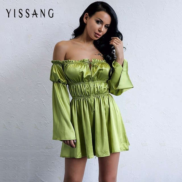 f0d634356eb Yissang Sexy Off Shoulder Women Playsuit Short Party Jumpsuit Romper Solid  Satin Bodysuit Strapless Long Sleeve Catsuit