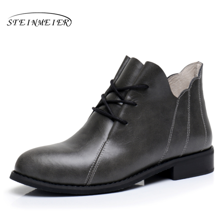 Genuine Leather Ankle Boots Comfortable quality soft Shoes Brand Designer Handmade big US 9.5 with fur 2018 grey spring