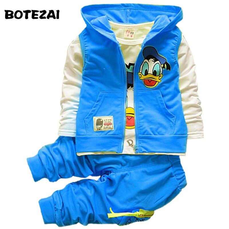 2017 New Autumn children boys girls clothing sets baby kids cartoon coat jacket T shirt pants Donald Duck clothes set