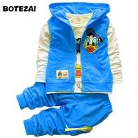 2015 New Autumn Children Boys Girls Clothing Sets Baby Kids Cartoon Coat Jacket T Shirt Pants