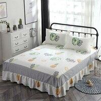 100% Cotton 3pcs bed skirt Pillowcase fruits cartoon sheet set single double queen king bed skirt pillow shams leaves bedclothes